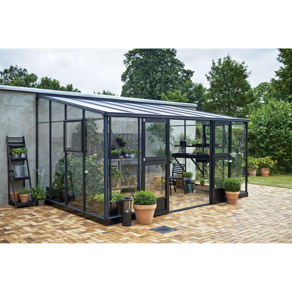 Serre adossée en verre trempé Veranda anthracite 12.9 m² - Juliana