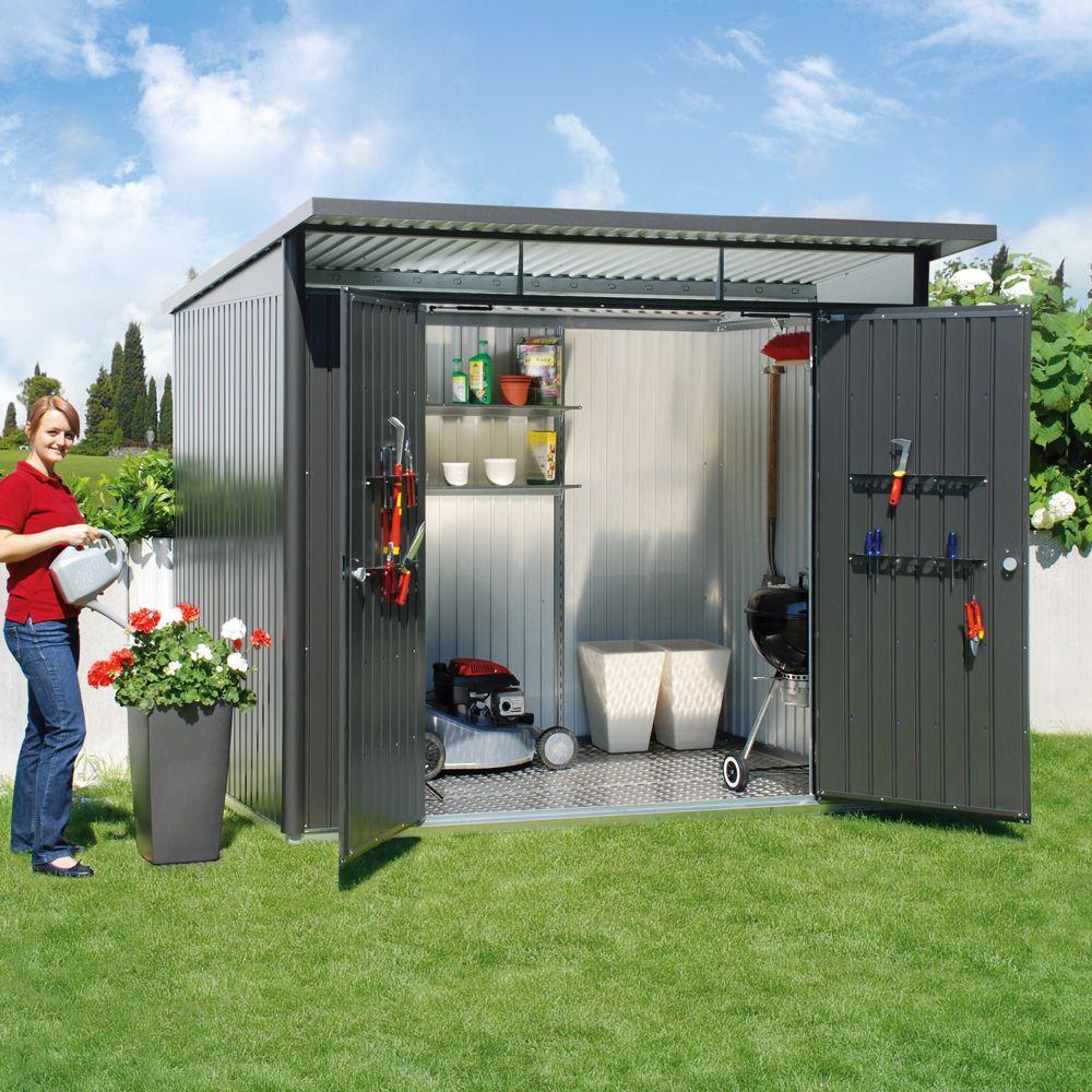 abri de jardin m tal double porte 5 72 m ep 0 53 mm avantgarde biohort gris fonc 260 x 220 x