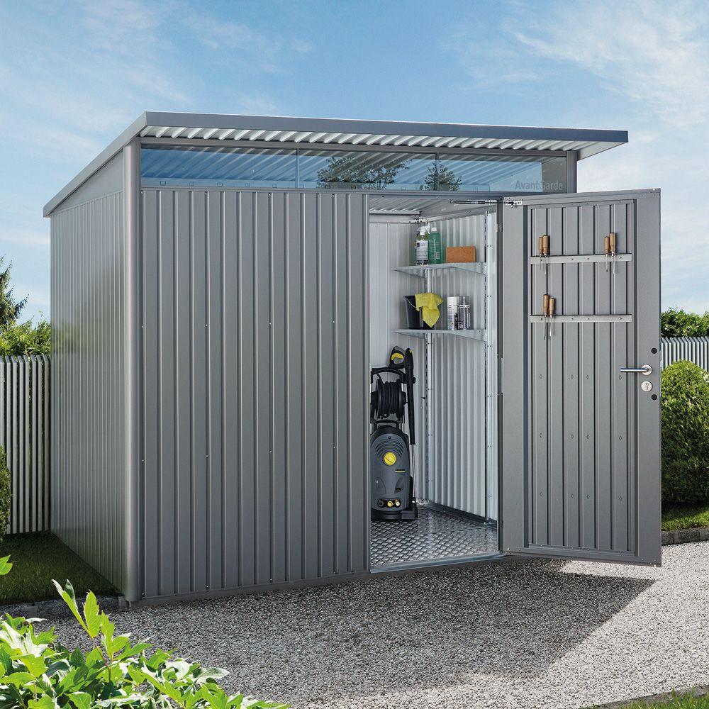 Abri de jardin métal 7,8 m² Ep. 0,53 mm AvantGarde Biohort gris 260 ...