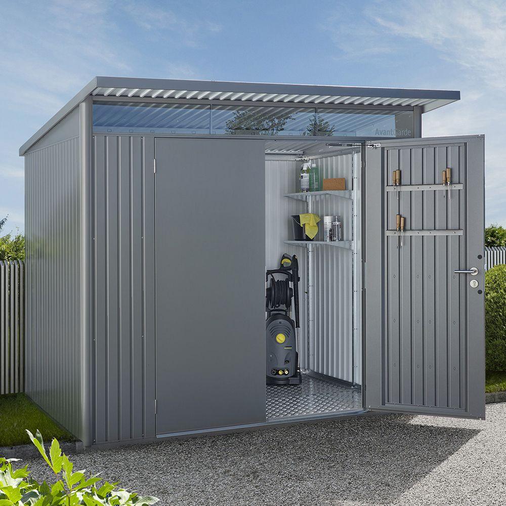 Abri de jardin métal double porte 7,8 m² Ep. 0,53 mm AvantGarde Biohort gris