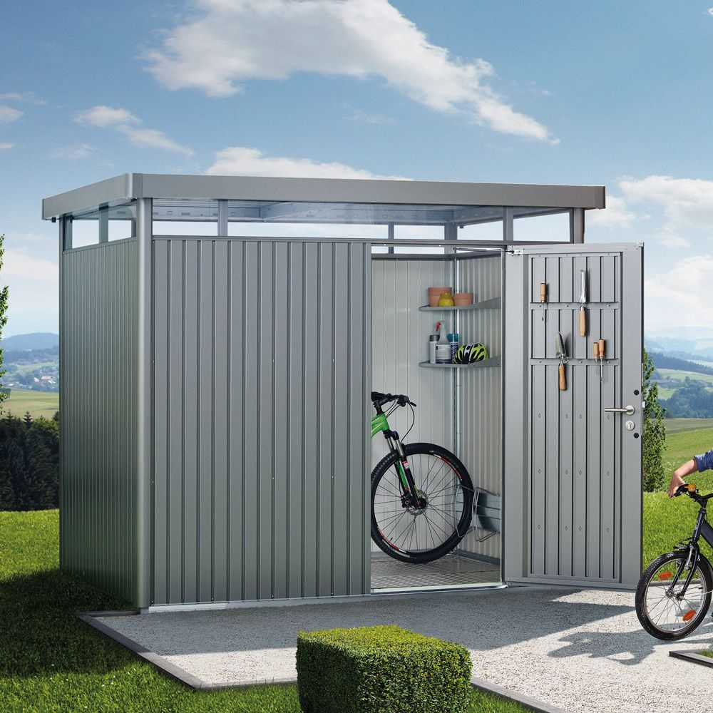 Abri de jardin métal 5,36 m² Ep. 0,53 mm HighLine Biohort gris ...