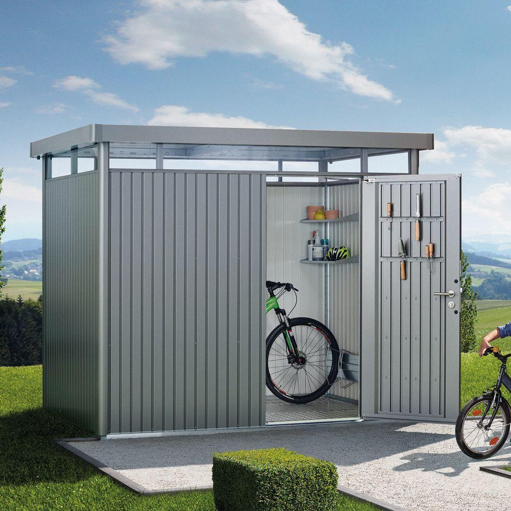 Abri de jardin métal 8,66 m² Ep. 0,53 mm HighLine Biohort gris ...