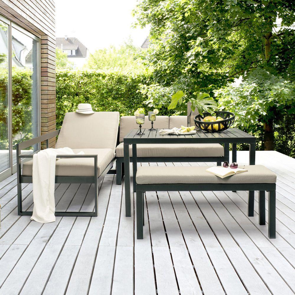 Salon de jardin Kettler Océan : canapé d\'angle + table + banc ...