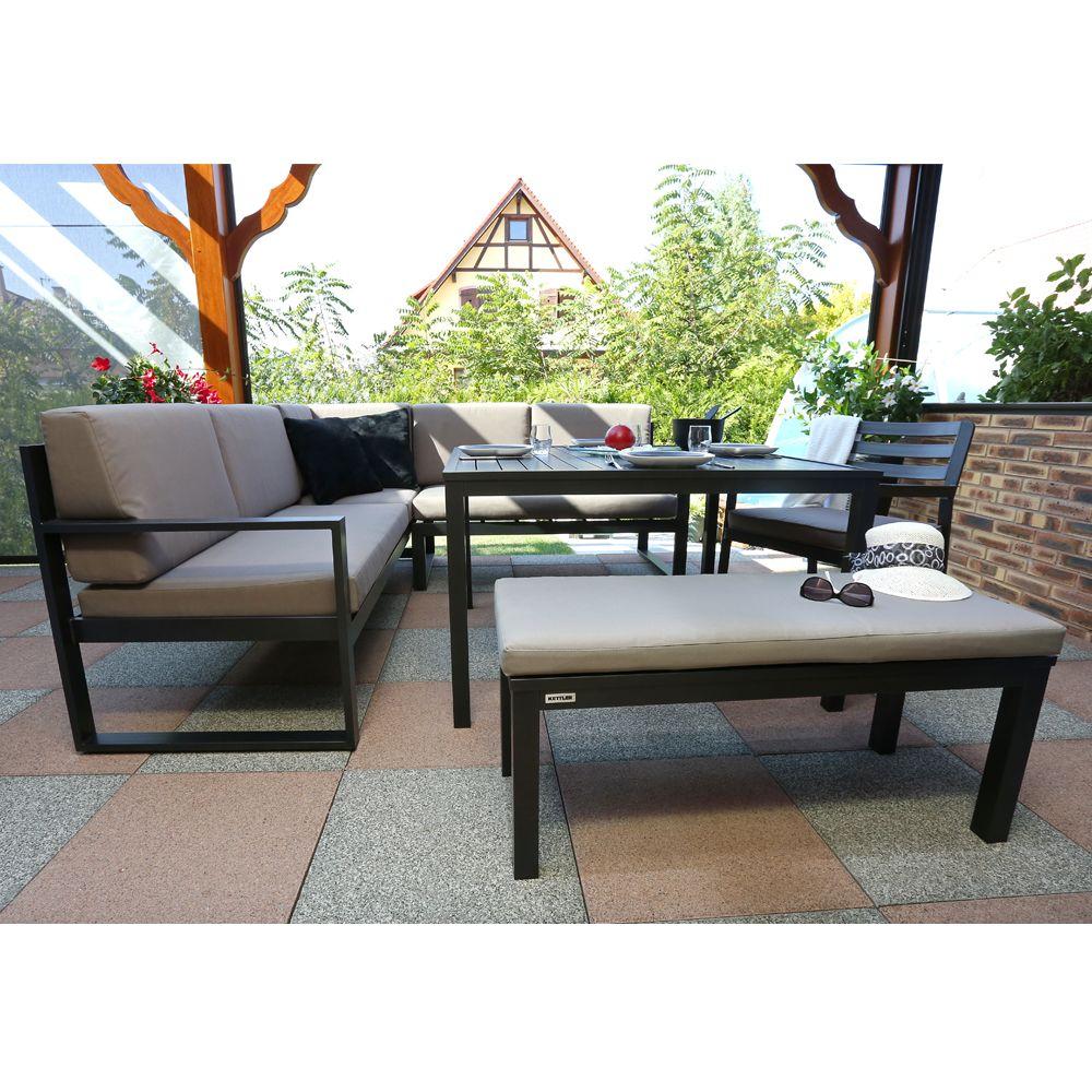 Salon de jardin Kettler Océan : canapé d\'angle + table + banc