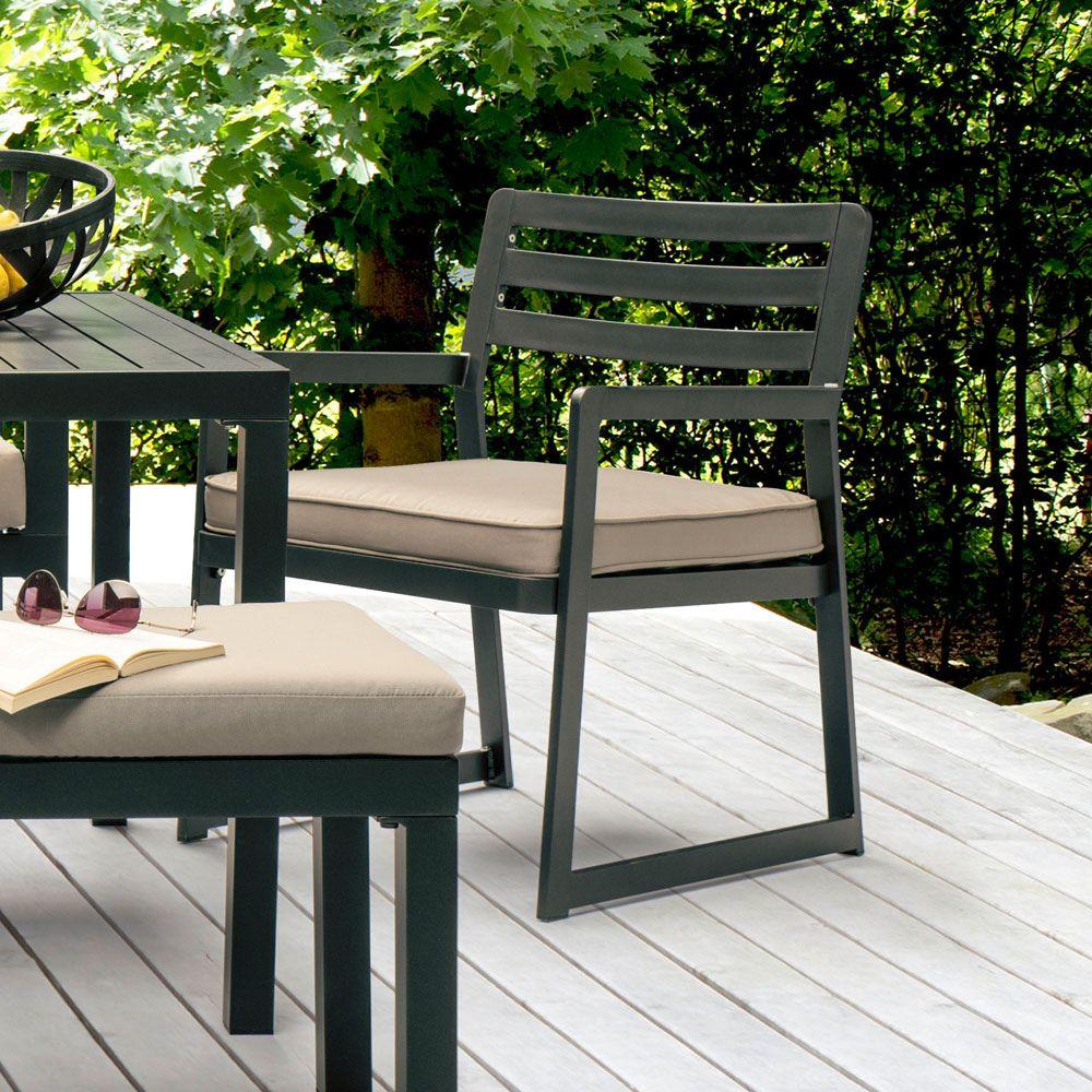 Salon de jardin Kettler Océan : canapé d\'angle + table + banc + fauteuil