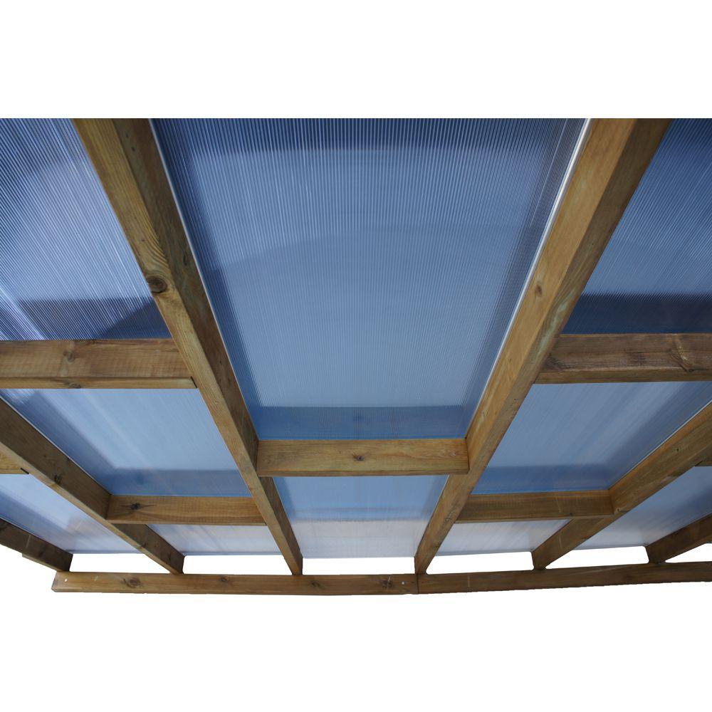 Pergola adossée bois traité toiture polycarbonate 3x2 m