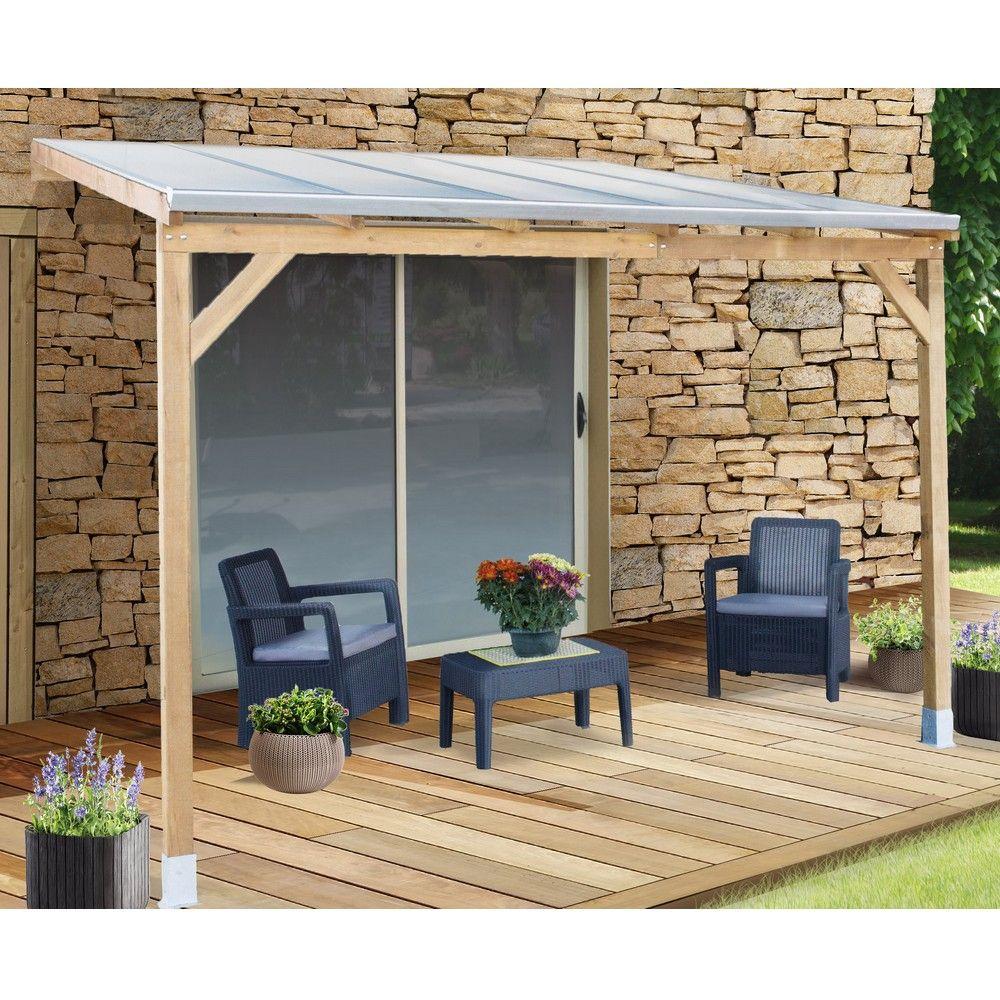 Pergola adossée bois traité toiture polycarbonate 3x3 m