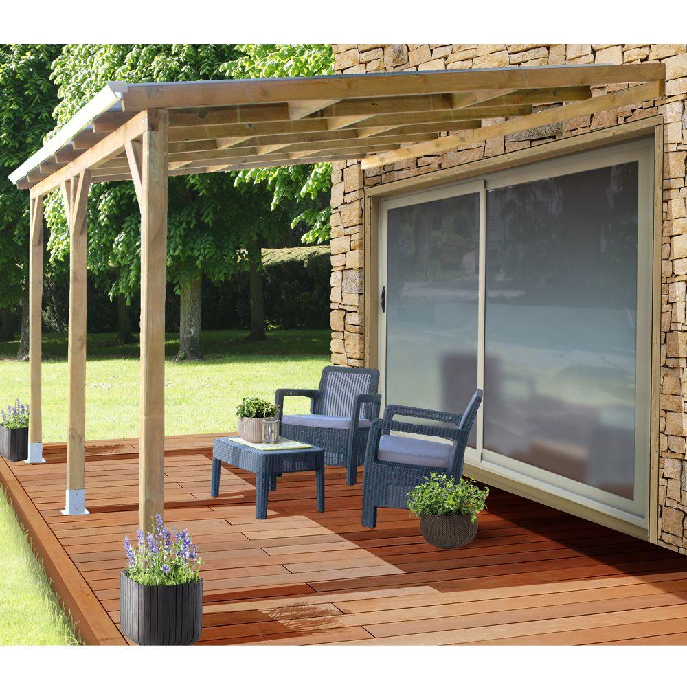 Pergola adossée bois traité toiture polycarbonate 3x3,7 m