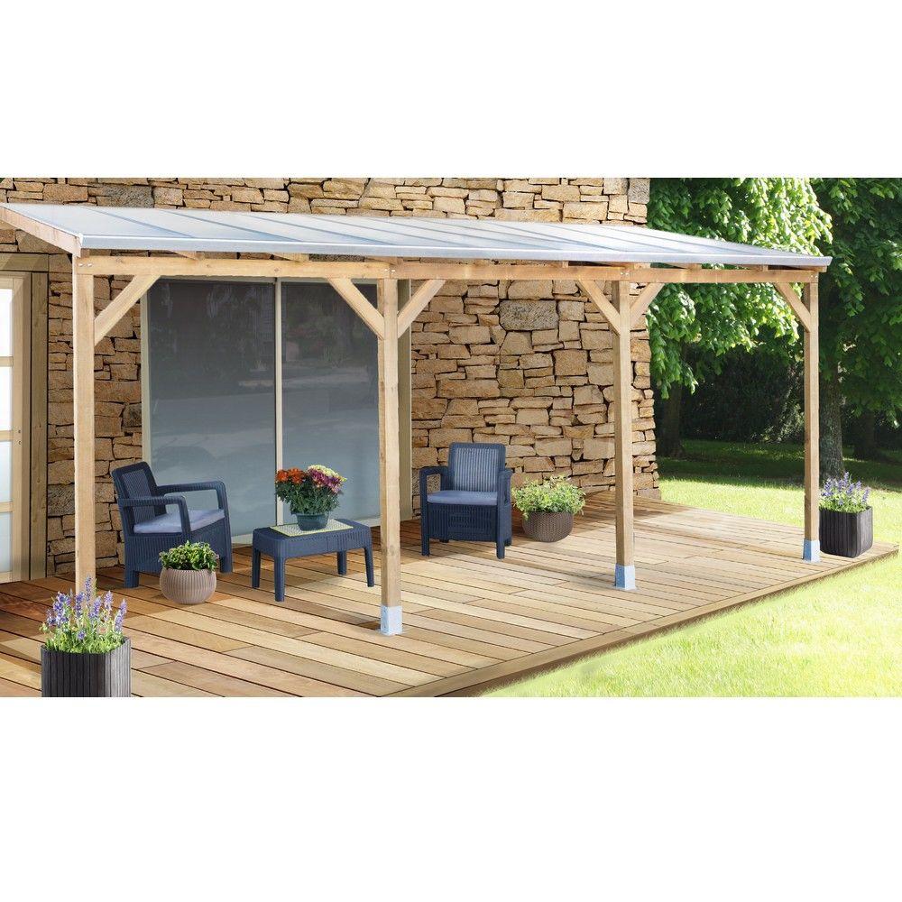 Pergola adossée bois traité toiture polycarbonate 3x5,5 m