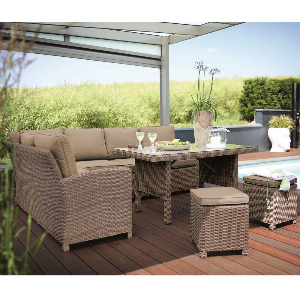 Salon de jardin Kettler Marbella résine : canapé + table + 2 tabourets