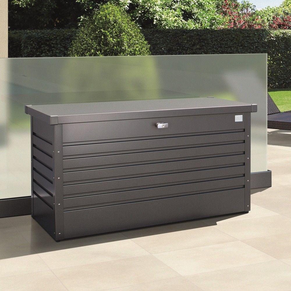 Coffre de jardin métal 460L Biohort gris foncé 134 x 62 x 71 cm - Gamm Vert