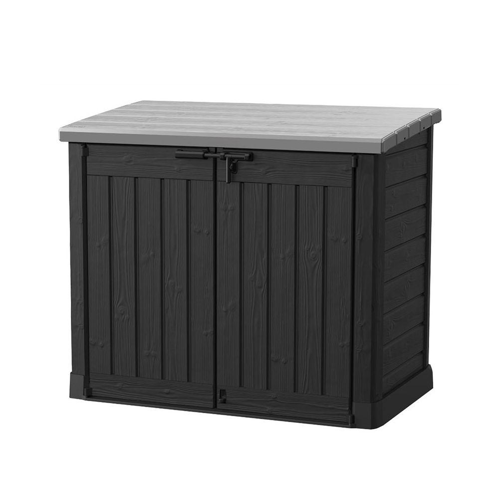 Coffre de jardin en résine multifonctions 1200L gris/noir