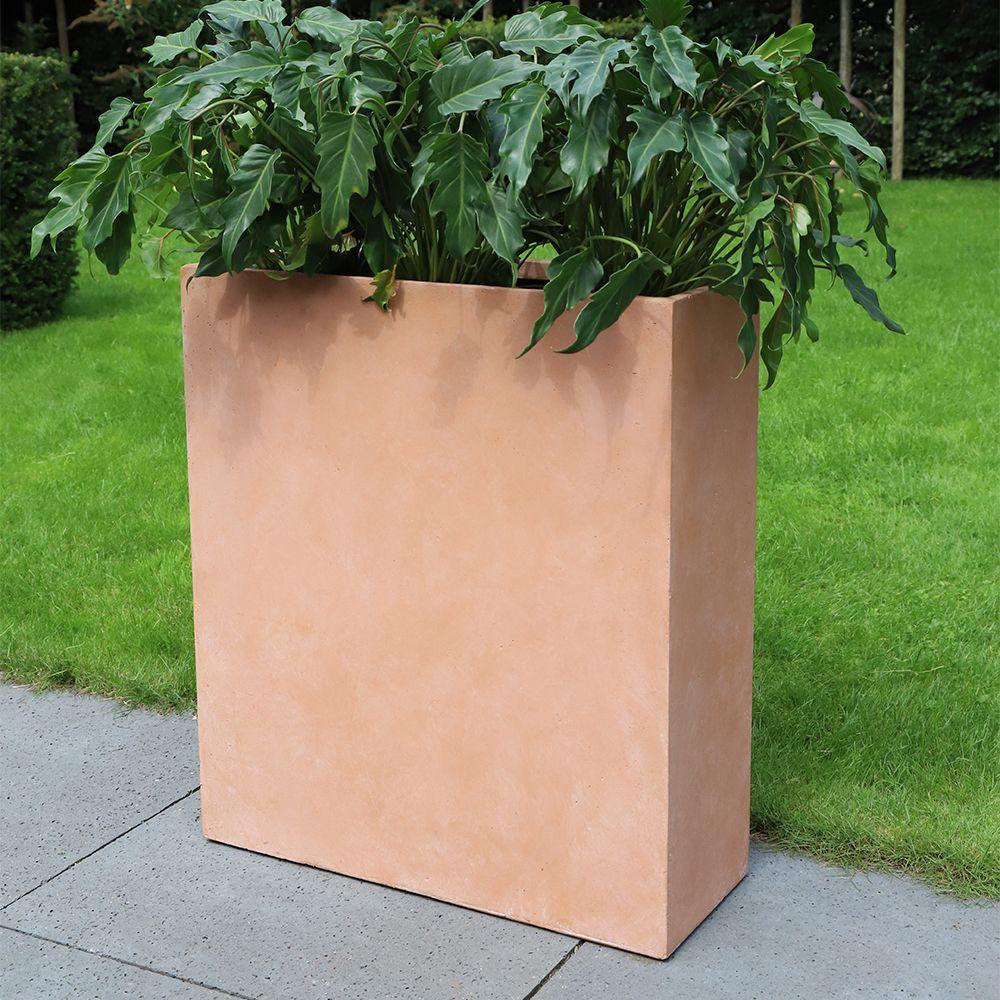 Bac à fleurs fibre de terre Clayfibre L60 H72 cm Terracotta
