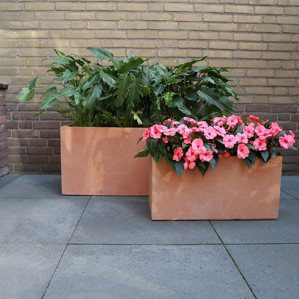 Bac à fleurs fibre de terre Clayfibre L80 H40 cm terracotta