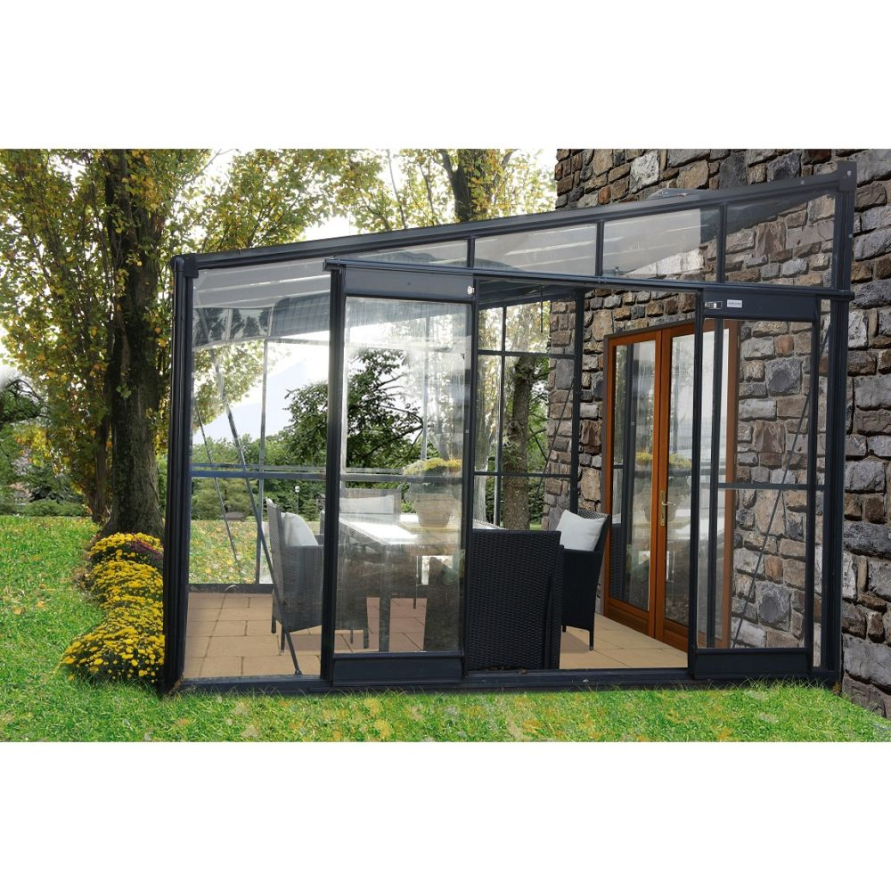 Serre adossée en verre trempé Solarium 7.22 m² grise - Châlet-Jardin
