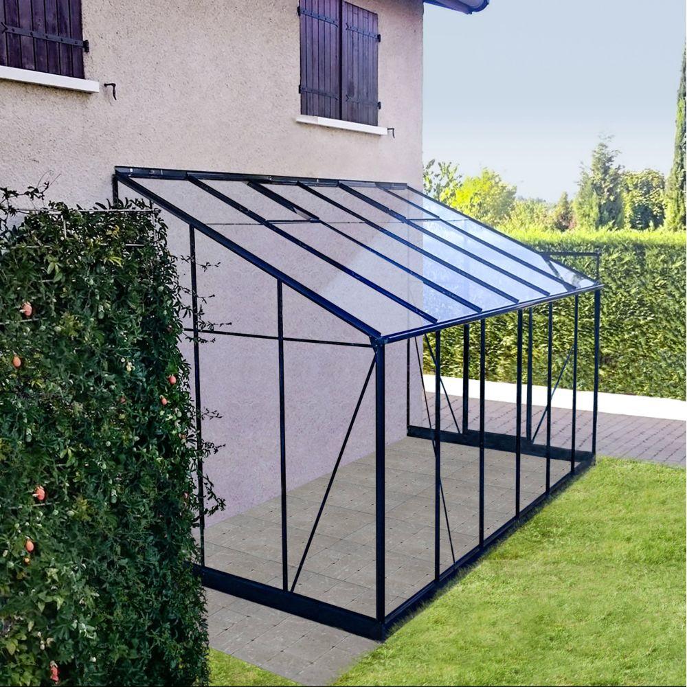 Serre adossée en verre trempé Solarium grise 7.22 m² - Châlet-Jardin