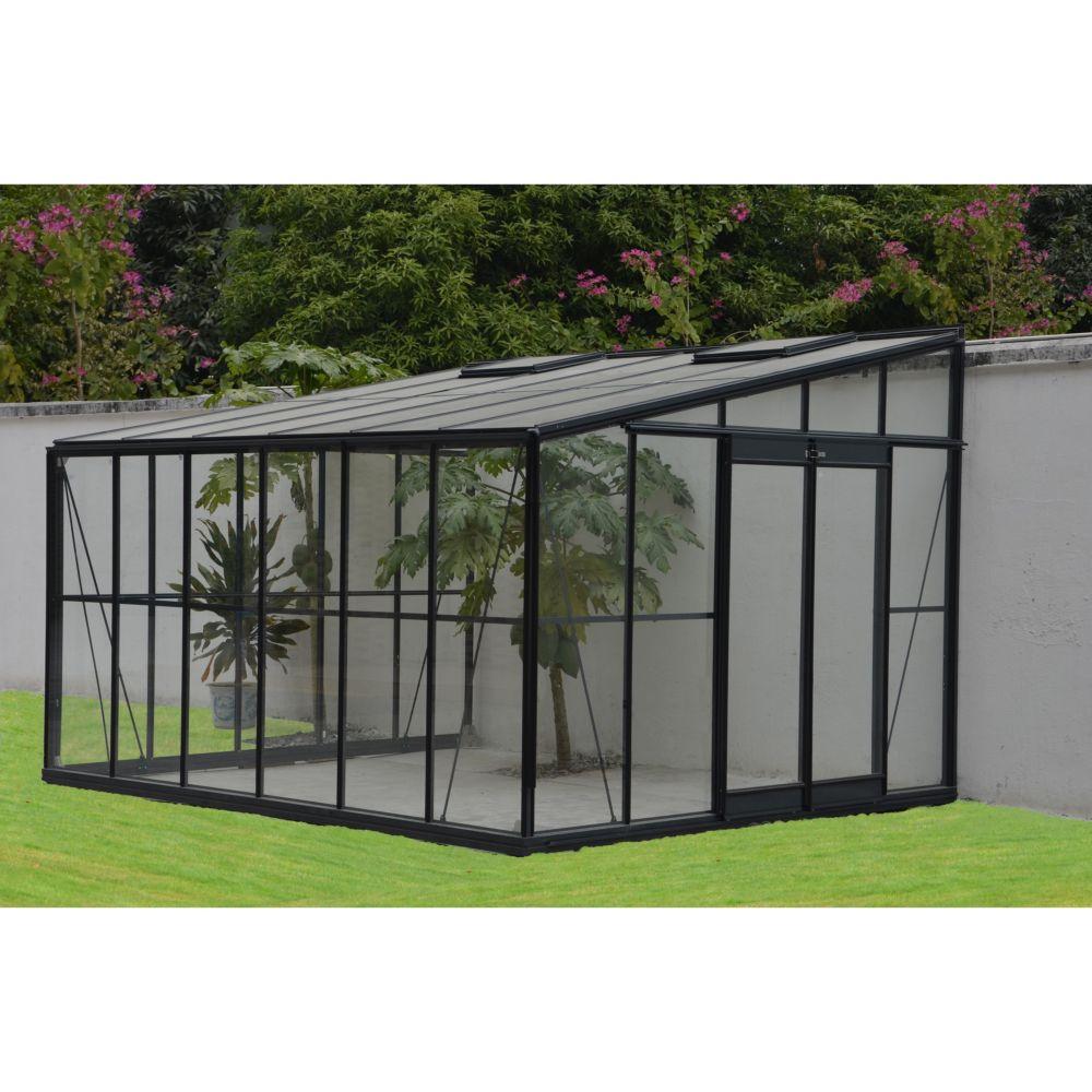 Serre adossée en verre trempé Solarium 11.85 m² grise - Châlet ...