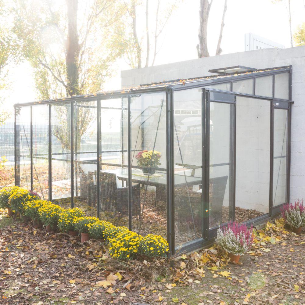 Serre adossée en verre trempé Solarium grise 9.61 m² - Châlet-Jardin