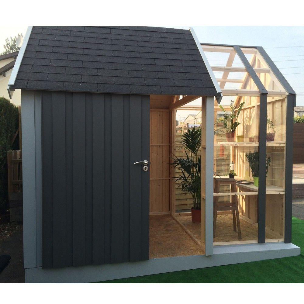 Abri de jardin en bois avec serre 7,39 m² Ep. 28 mm Vertigo