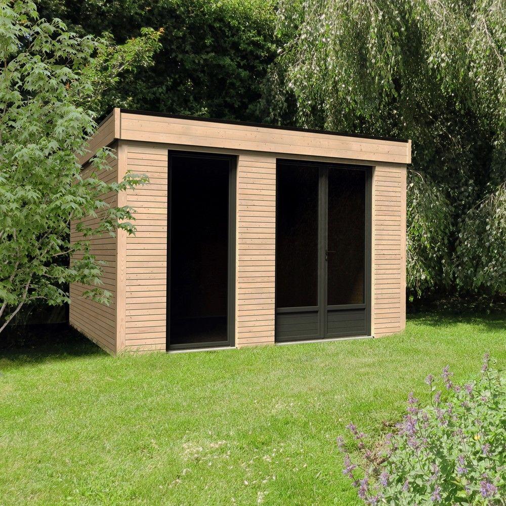 Abri De Jardin Habitable abri de jardin semi habitable toit plat décor home 10,91 m² ep. 90 mm