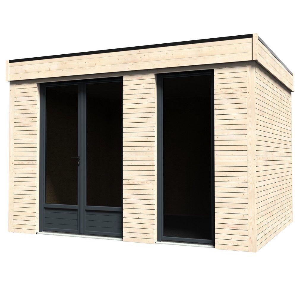 Pièce à vivre au jardin bois toit plat 10,91 m² Ep. 90 mm Décor Home