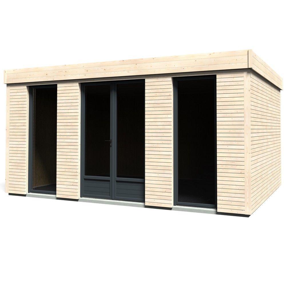 Abri de jardin en bois toit plat Décor Home 18,14 m² Ep. 90 mm