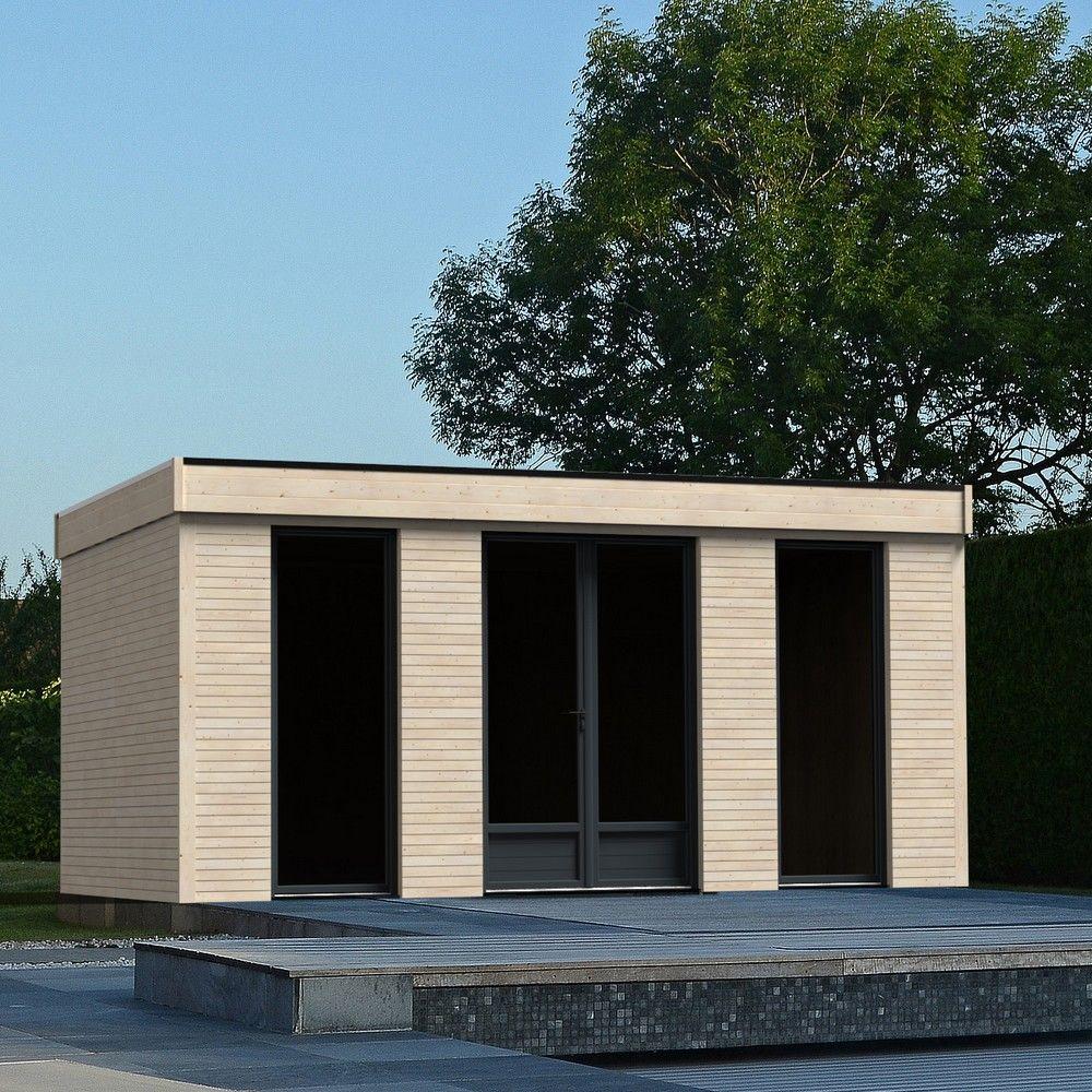 Pièce à vivre au jardin bois toit plat 18,14 m² Ep. 90 mm Décor Home ...