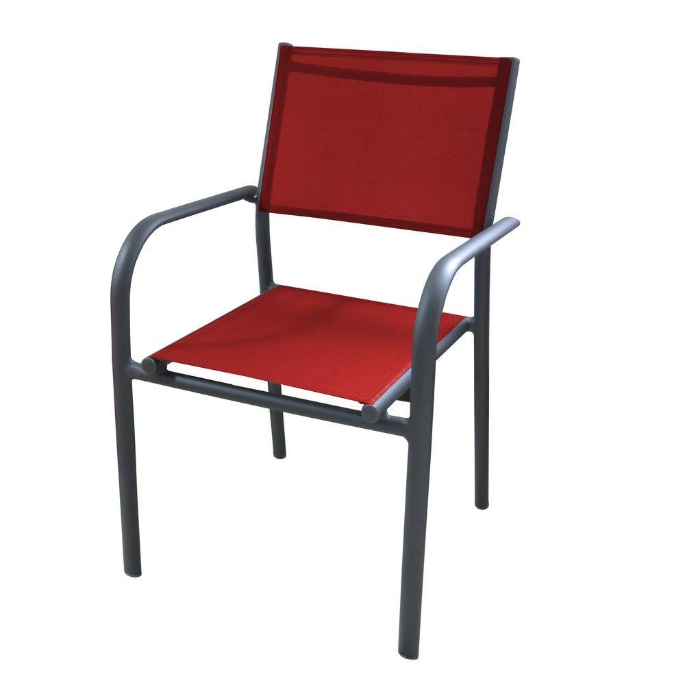 Fauteuil Duca aluminium/textilène gris/rouge