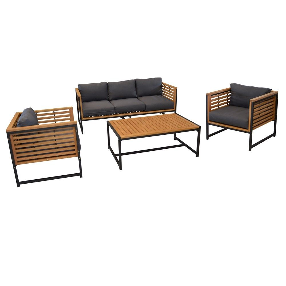 salon de jardin bas v gas aluminium bois 1 canap 2. Black Bedroom Furniture Sets. Home Design Ideas