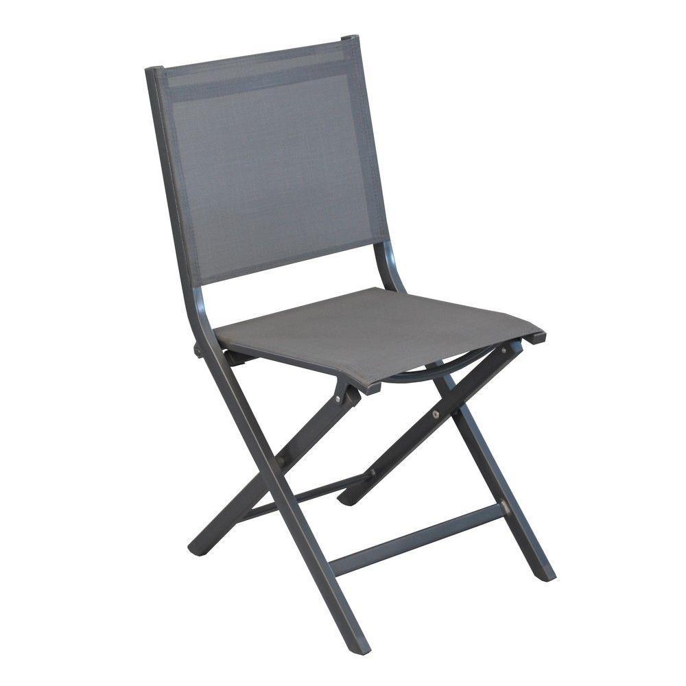 Chaise de jardin pliante aluminium/textilène gris