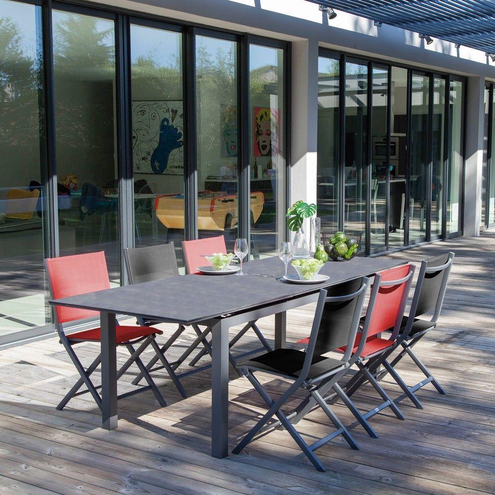 Table de jardin Soto l180/235 L90 cm aluminium gris - Gamm Vert