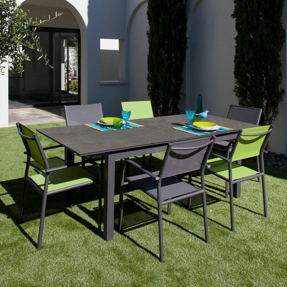 Table de jardin Soto l180/235 L90 cm aluminium gris - Gamm