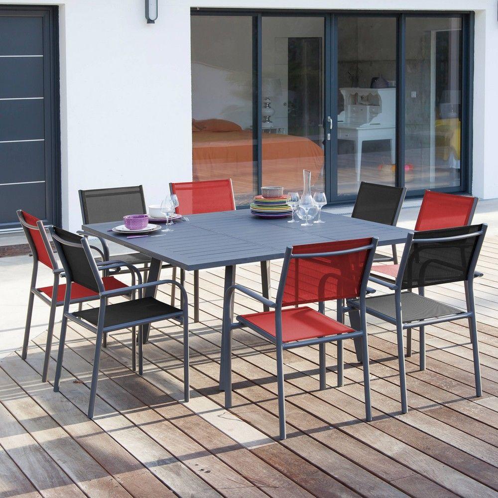 Table de jardin Barcelona L105/145 l145 aluminium gris - Gamm Vert