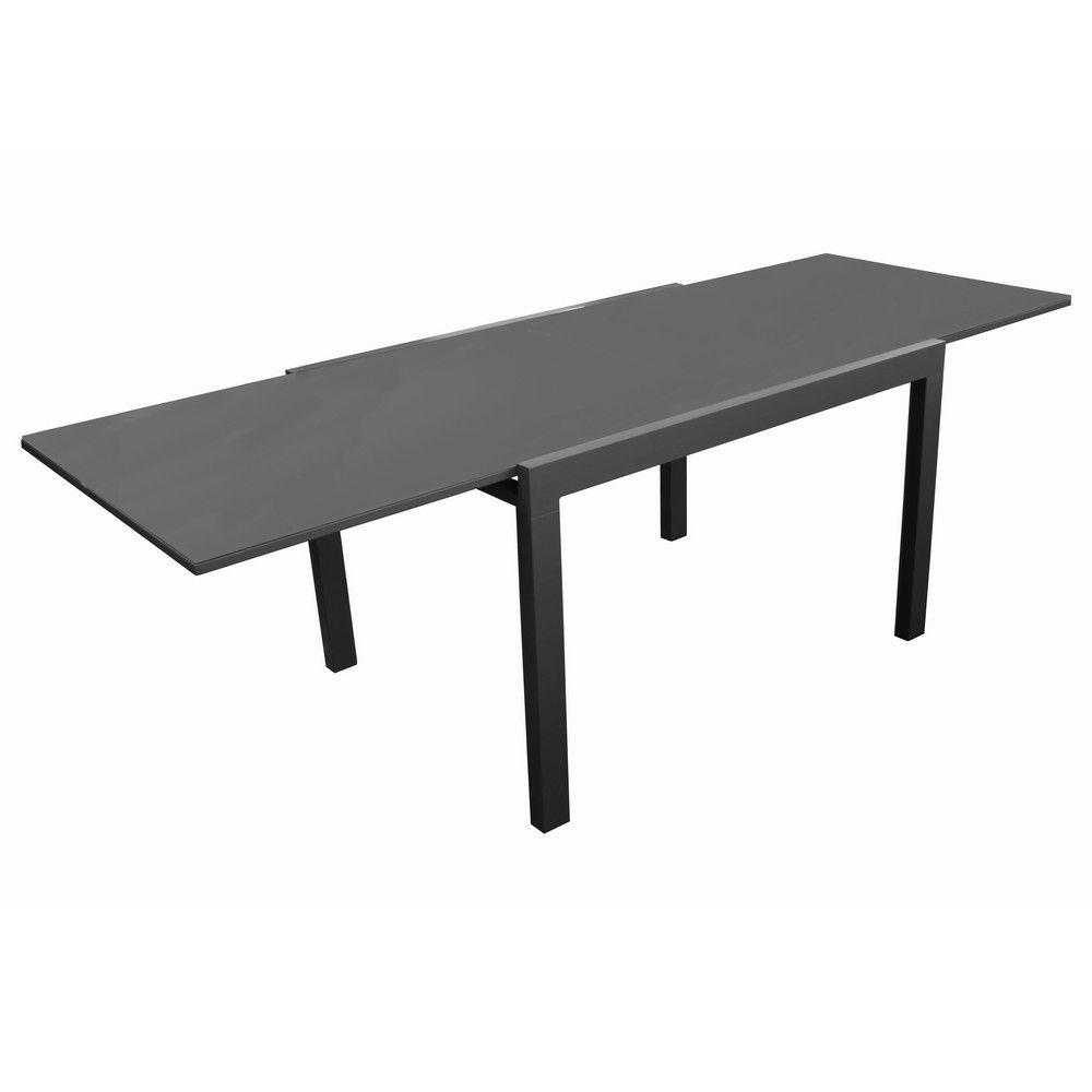 Table de jardin Elise l170/270 L90 cm aluminium/verre gris