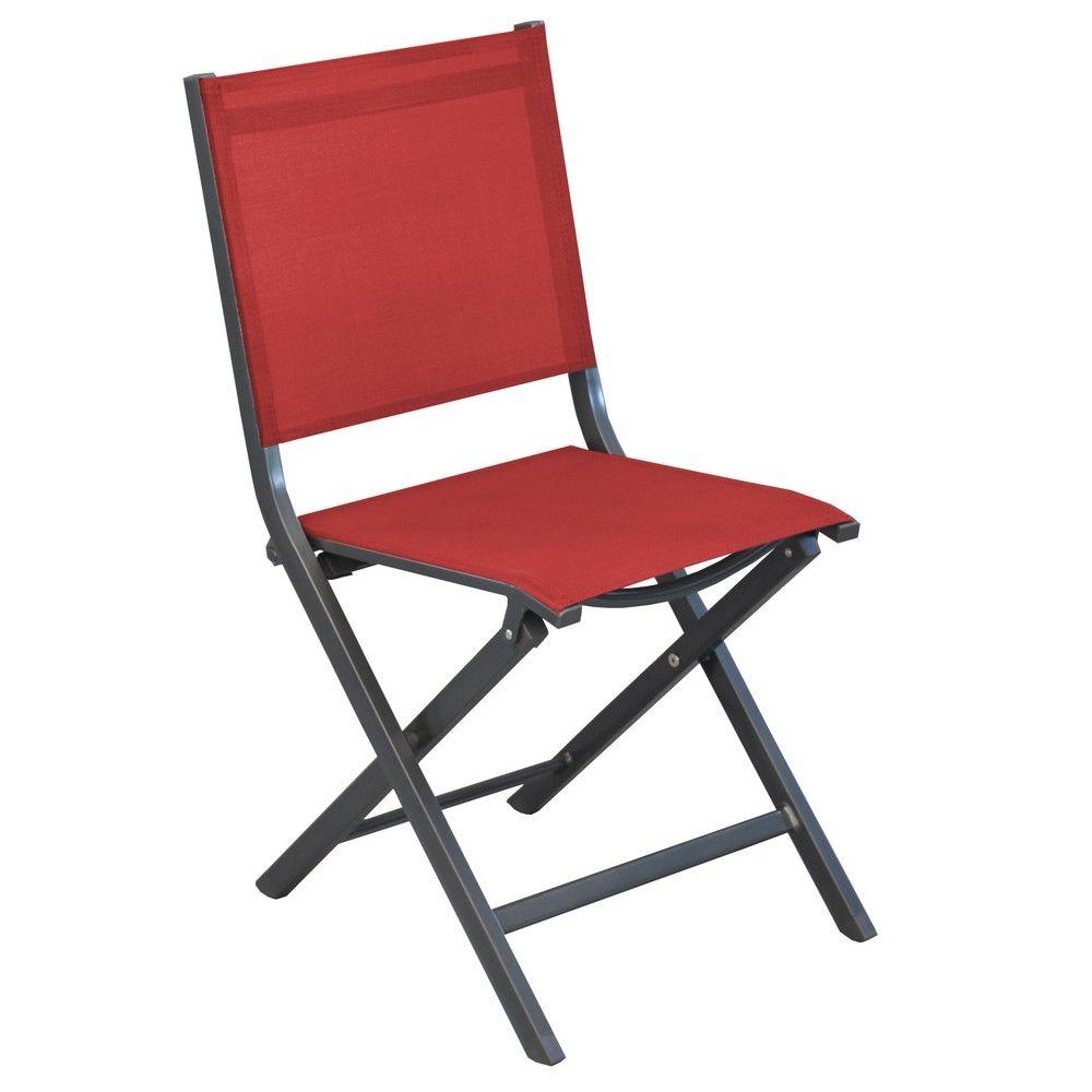 Chaise pliante Thema aluminium/textilène gris/rouge