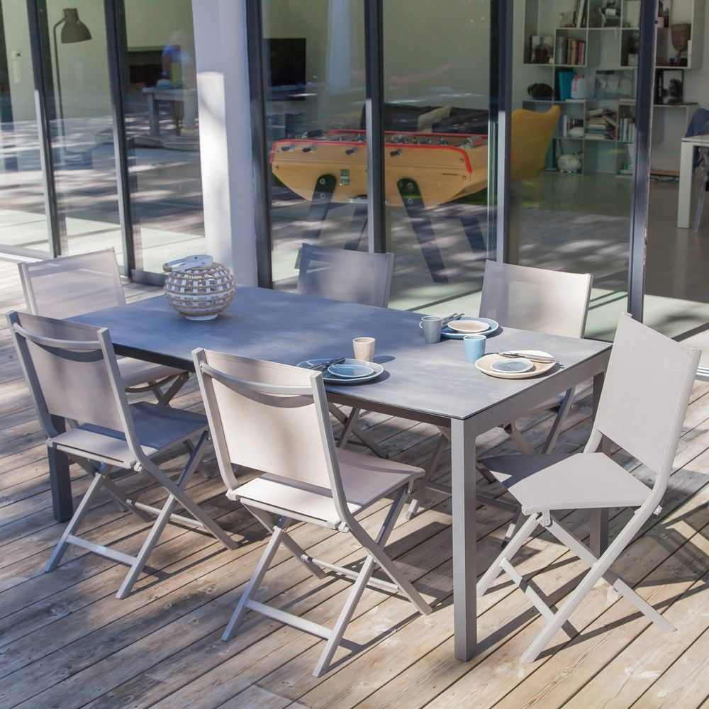 Table de jardin Soto aluminium/HPL l180 L90 cm taupe