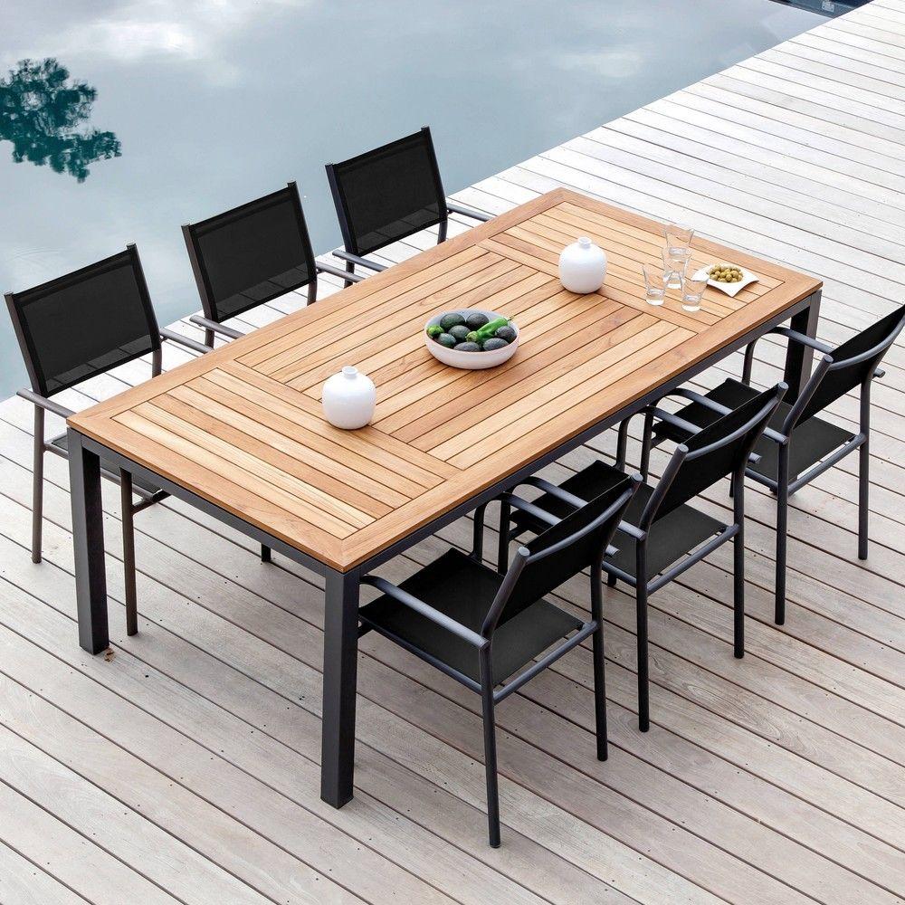 Table de jardin Tempo l180 L90 cm aluminium/teck