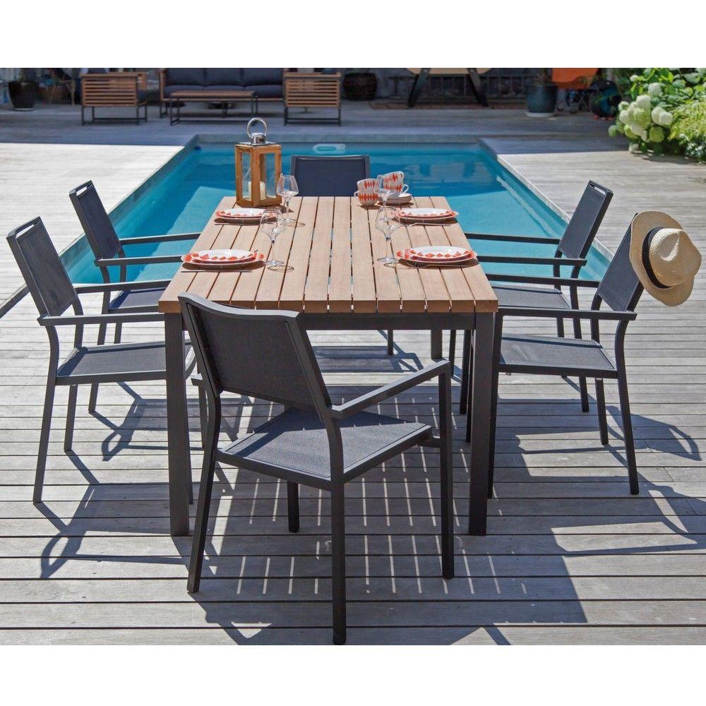 Table de jardin Vegas l210 L90 cm aluminium/bois