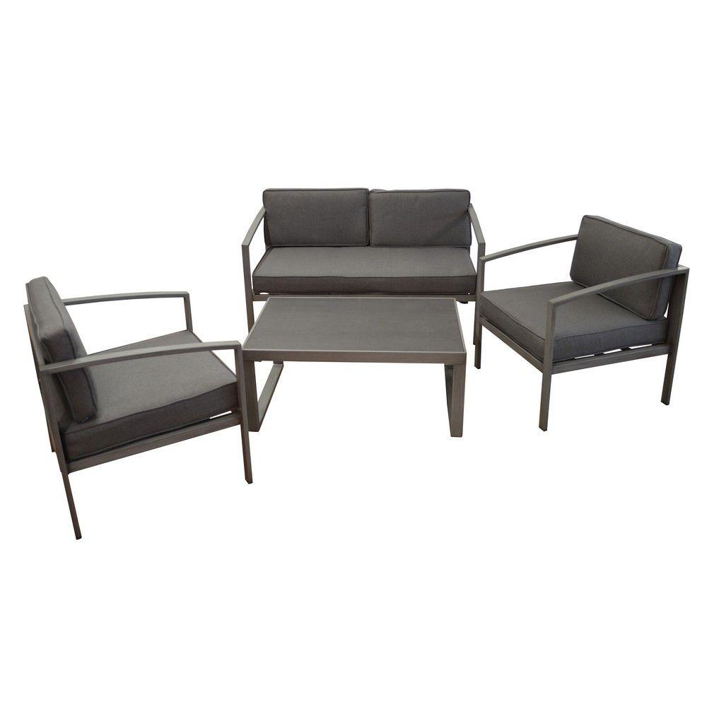 Salon de jardin bas Trieste : 1 canapé + 2 fauteuils
