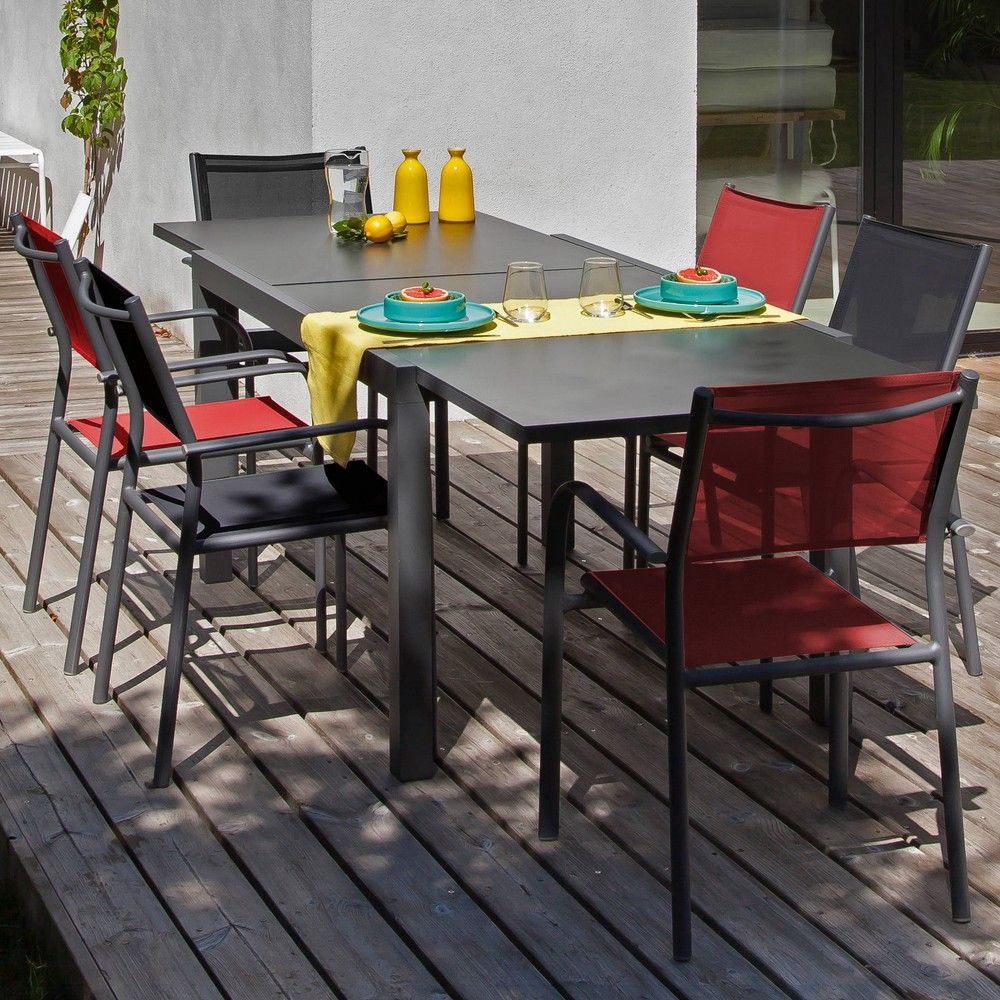 Salon de jardin : Table Elise + 6 Fauteuils Duca gris/rouge