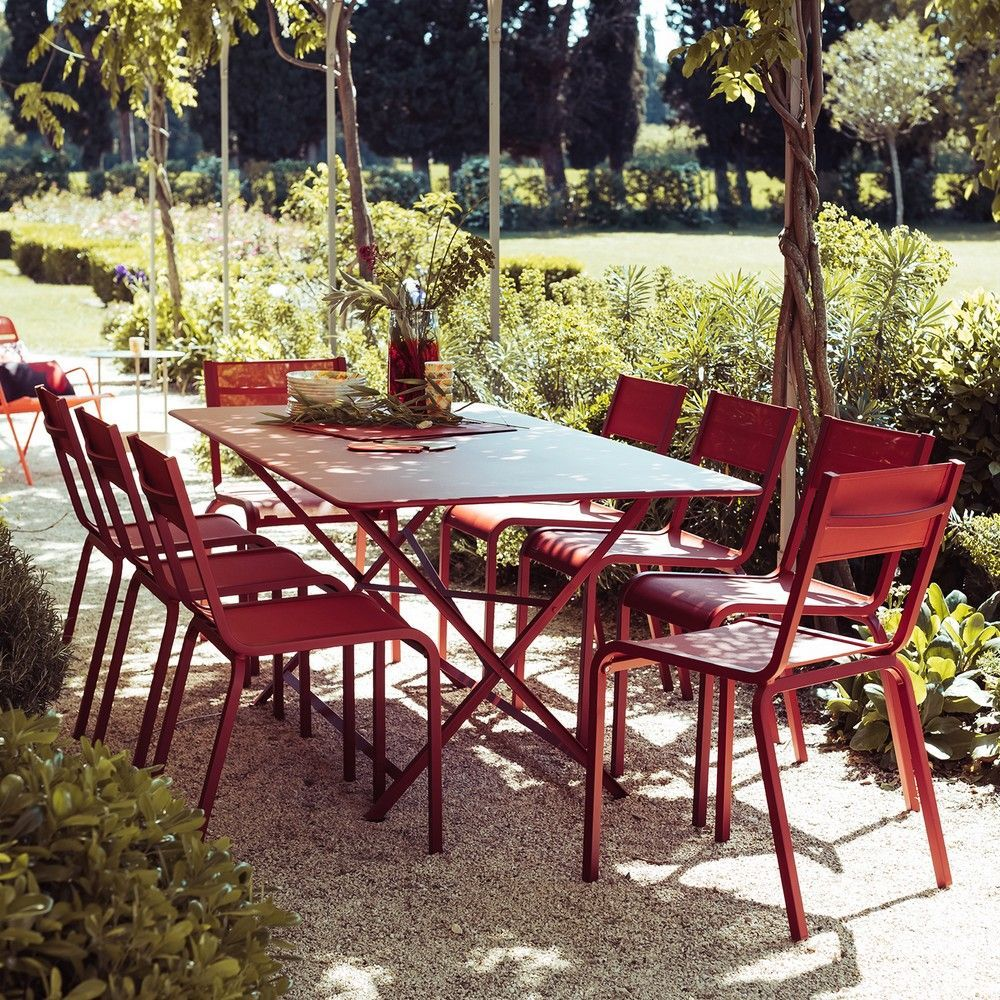 Salon de jardin Fermob 8 pers. : 1 table Cargo + 8 chaises Oléron ...