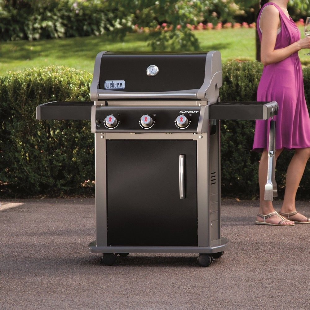 barbecue gaz weber spirit e 310 noir plancha h62 x l80 x. Black Bedroom Furniture Sets. Home Design Ideas