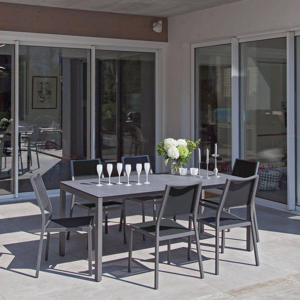 Salon de jardin : Table Soto + 6 chaises Florence gris/noir - Gamm Vert