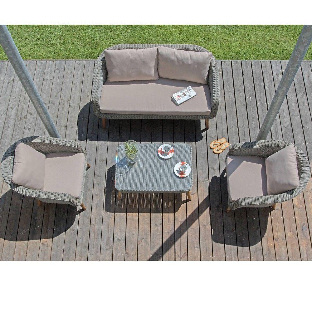 Salon de jardin bas Centura résine tressée : 2 fauteuils + 1 canapé + 1  table