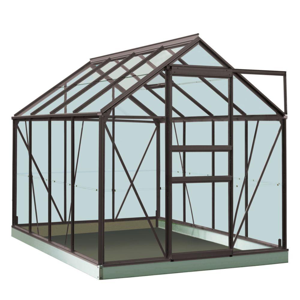 Serre en verre trempé Ivy gris anthracite 5 m² + Embase - Introgrow