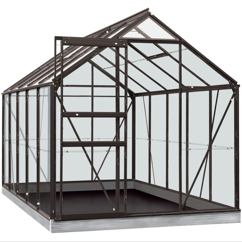 Serre en verre trempé Lily gris anthracite 6.20 m² + Embase - Introgrow