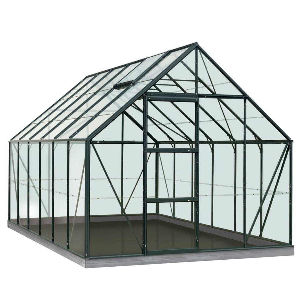 Serre en verre trempé Oliver vert 9.90 m² + Embase - Introgrow