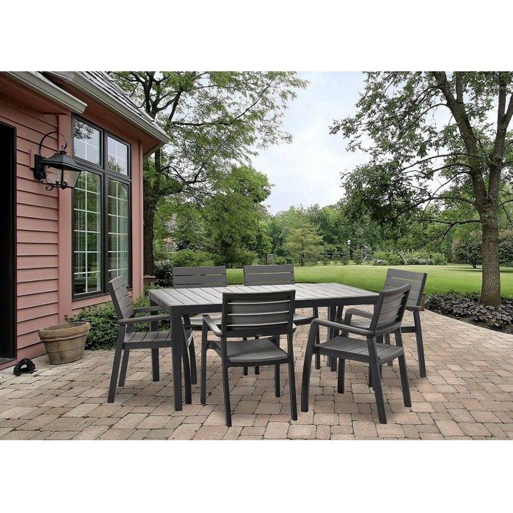 Salon de jardin résine Harmony : table + 6 fauteuils a enlever L165 ...