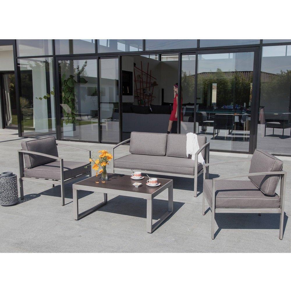 Salon de jardin Trieste : 1 canapé + 2 fauteuils + 1 table