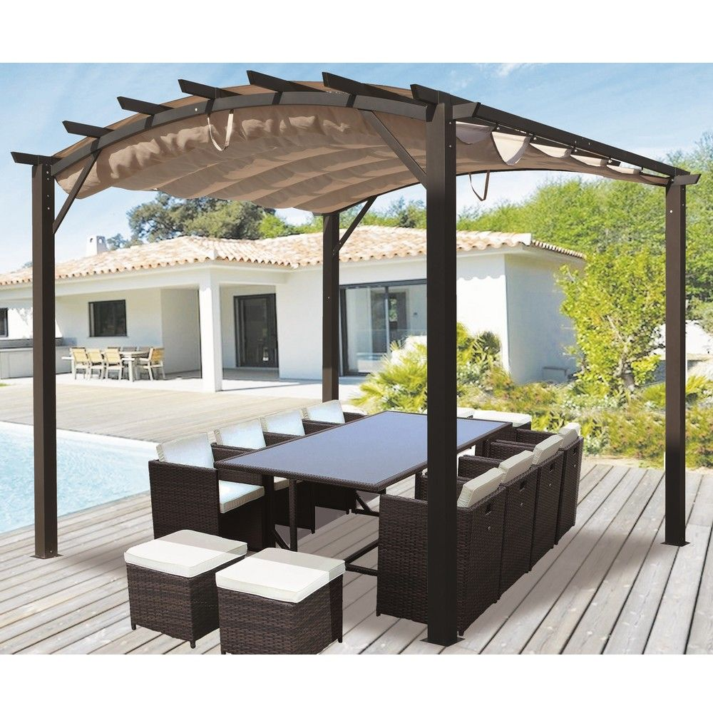 pergola autoportante aluminium toile coulissante 3 4 x 3. Black Bedroom Furniture Sets. Home Design Ideas
